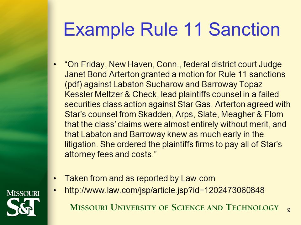 Example Rule 11 Sanction