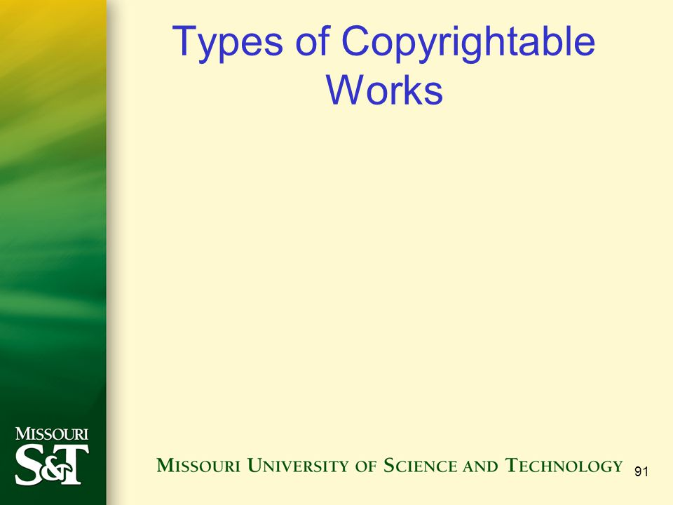 Types of Copyrightable Works