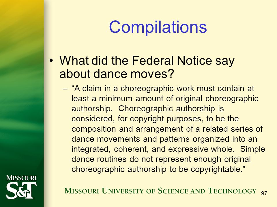 Compilations What did the Federal Notice say about dance moves