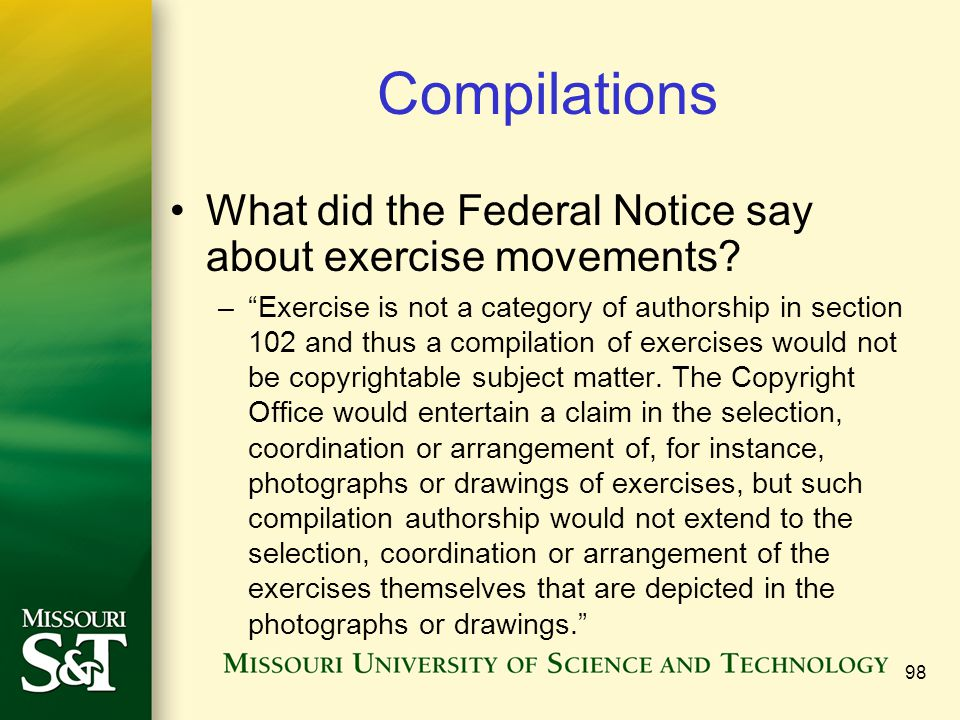 Compilations What did the Federal Notice say about exercise movements