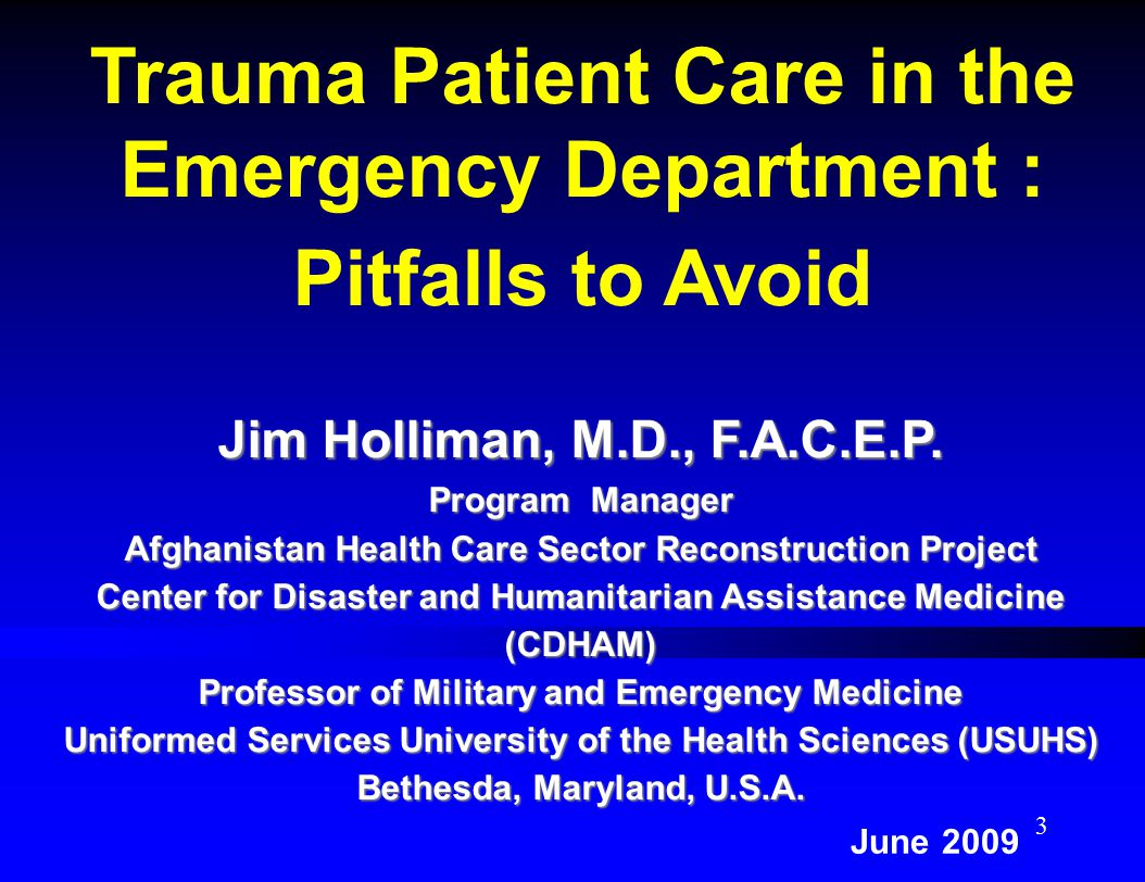 Trauma Patient Care in the Emergency Department : Pitfalls to Avoid