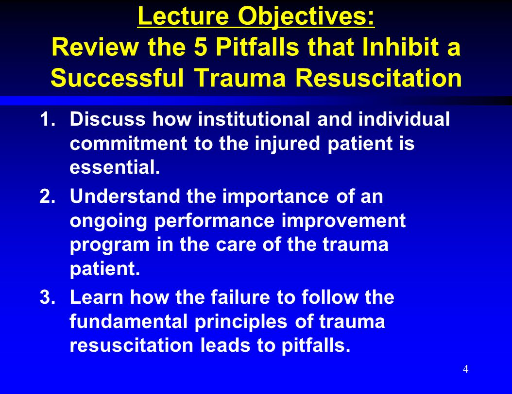 Lecture Objectives: Review the 5 Pitfalls that Inhibit a Successful Trauma Resuscitation