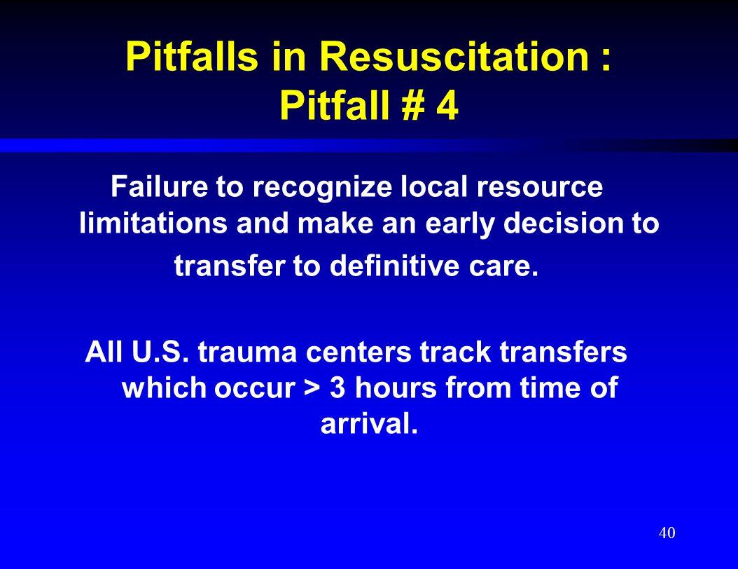 Pitfalls in Resuscitation : Pitfall # 4