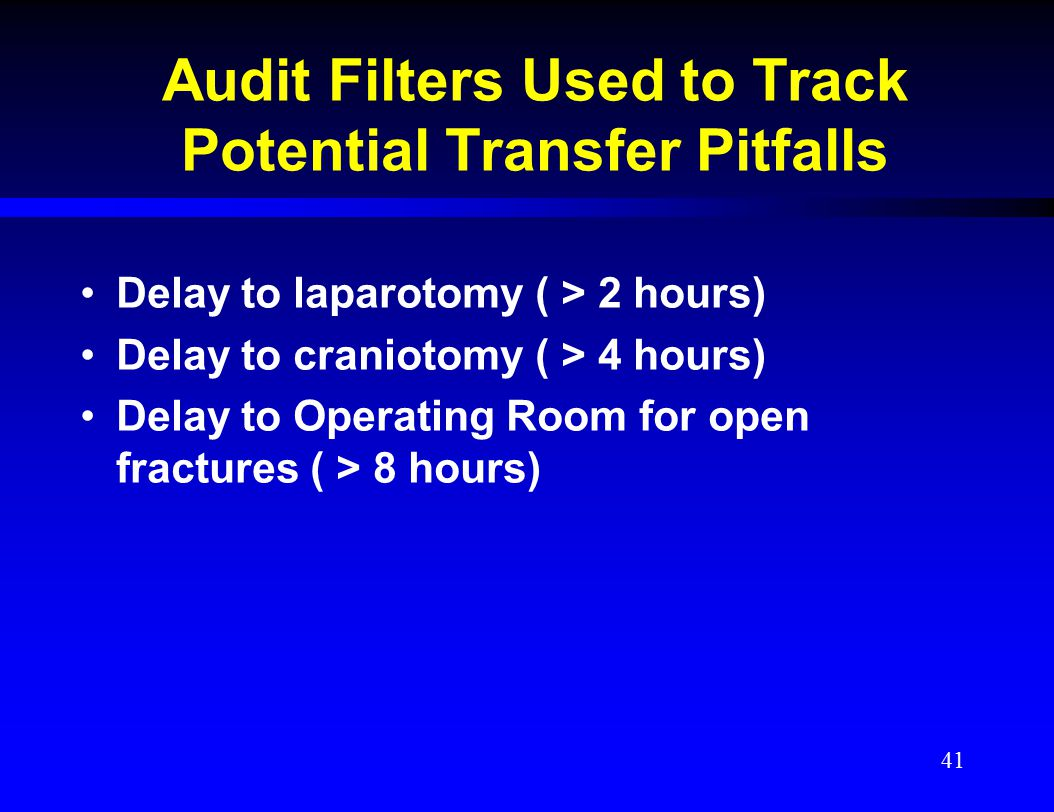 Audit Filters Used to Track Potential Transfer Pitfalls