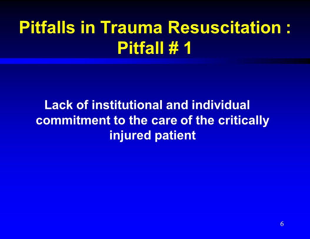 Pitfalls in Trauma Resuscitation : Pitfall # 1