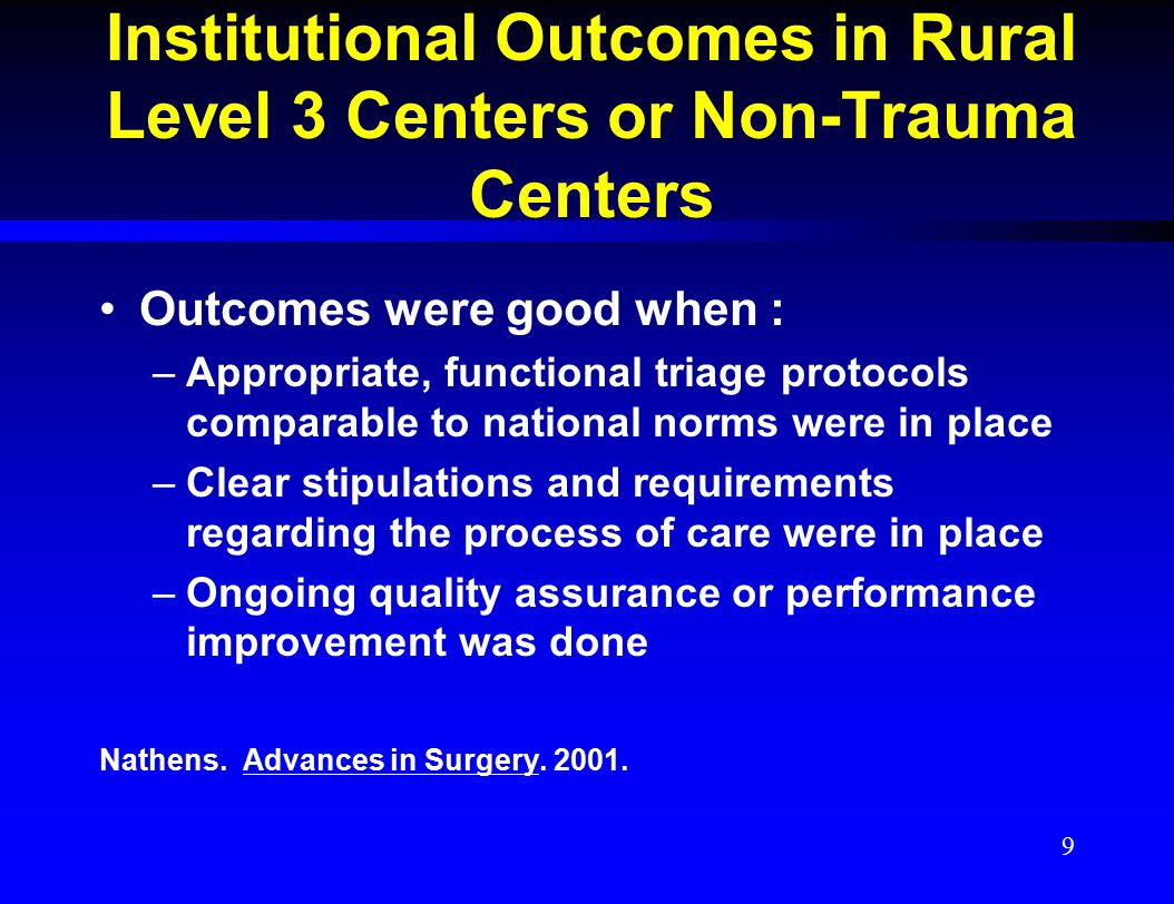 Institutional Outcomes in Rural Level 3 Centers or Non-Trauma Centers