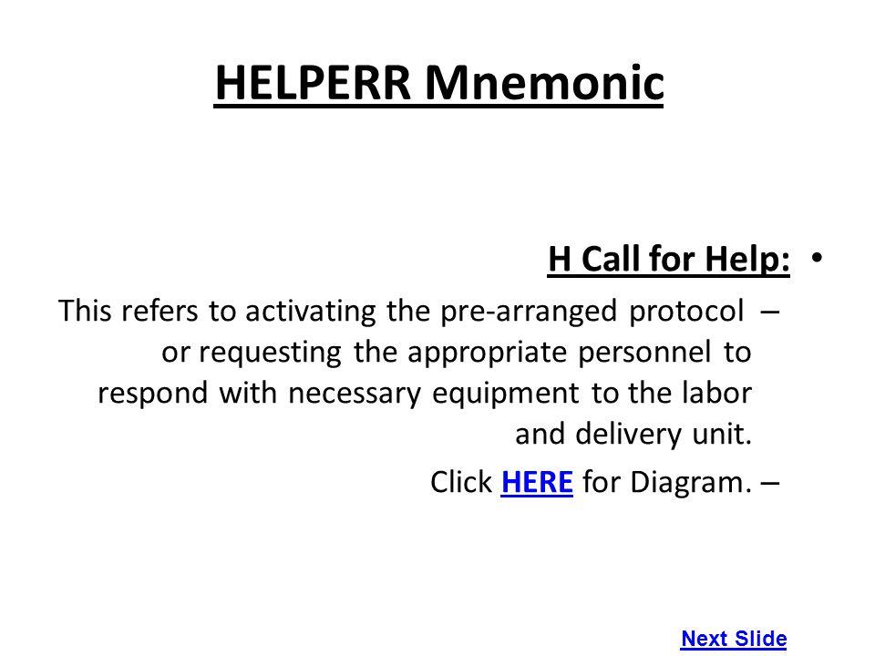 HELPERR Mnemonic H Call for Help:
