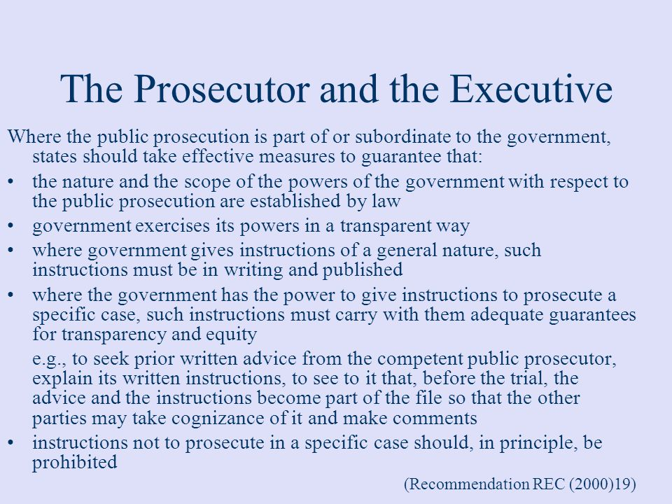 The Prosecutor and the Executive
