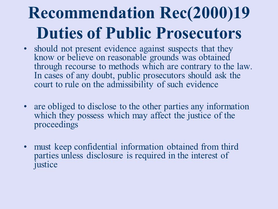Recommendation Rec(2000)19 Duties of Public Prosecutors