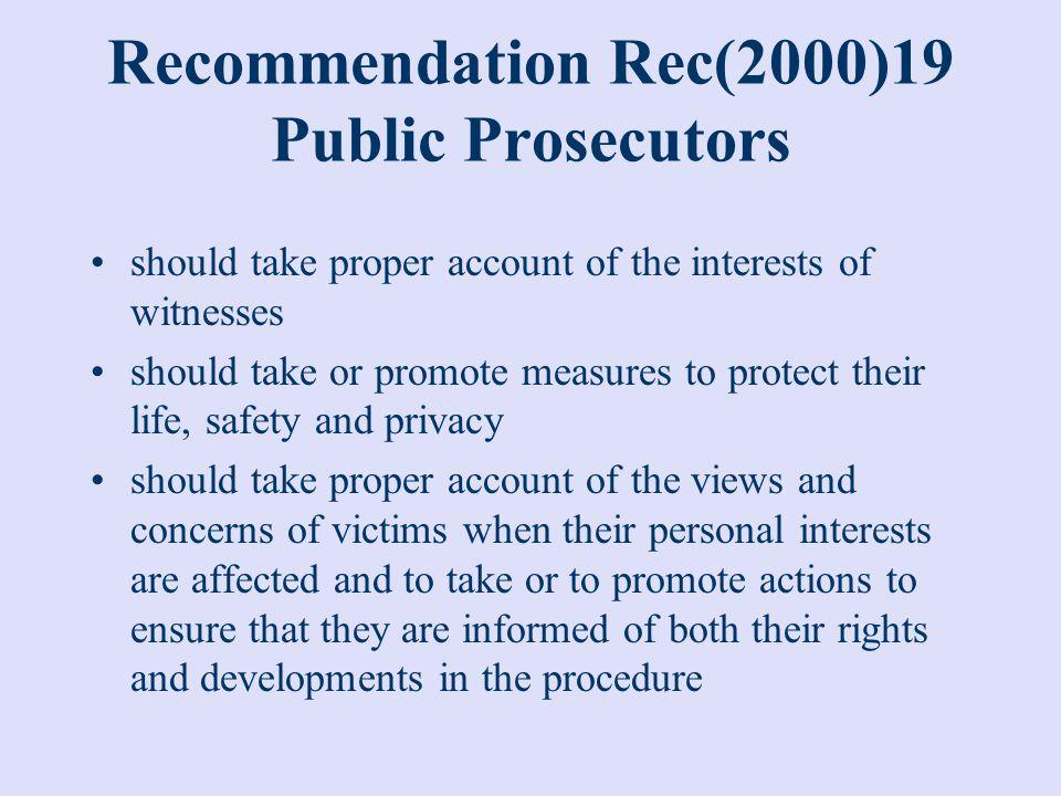 Recommendation Rec(2000)19 Public Prosecutors