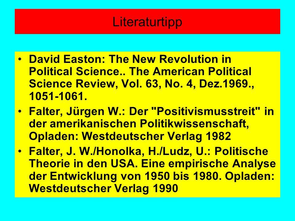 Literaturtipp David Easton: The New Revolution in Political Science.. The American Political Science Review, Vol. 63, No. 4, Dez.1969., 1051-1061.