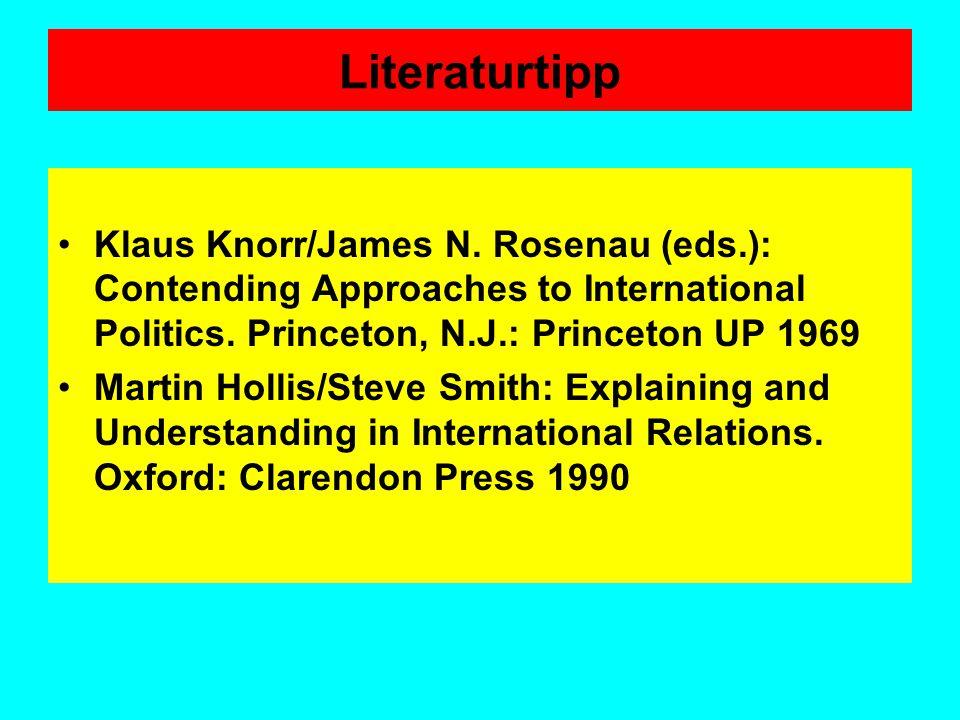 Literaturtipp Klaus Knorr/James N. Rosenau (eds.): Contending Approaches to International Politics. Princeton, N.J.: Princeton UP 1969.