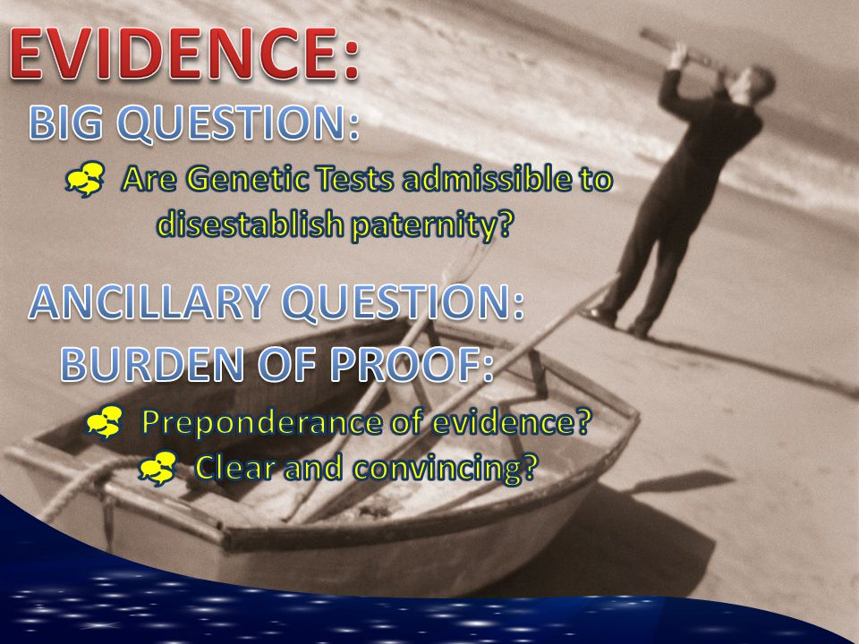 EVIDENCE: BIG QUESTION: ANCILLARY QUESTION: BURDEN OF PROOF: