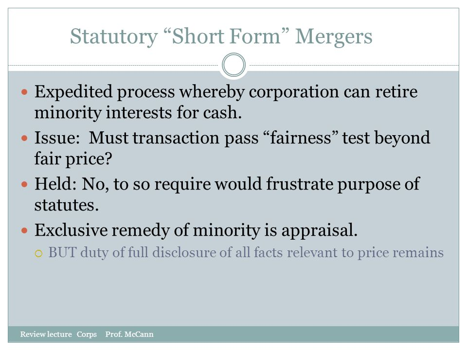 Statutory Short Form Mergers