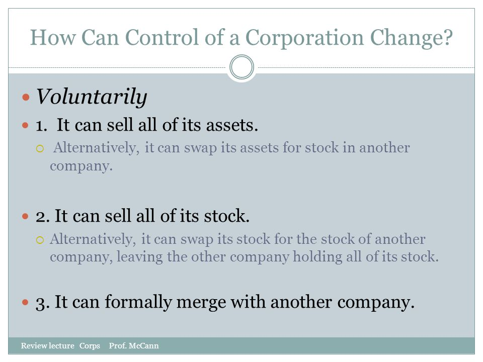 How Can Control of a Corporation Change