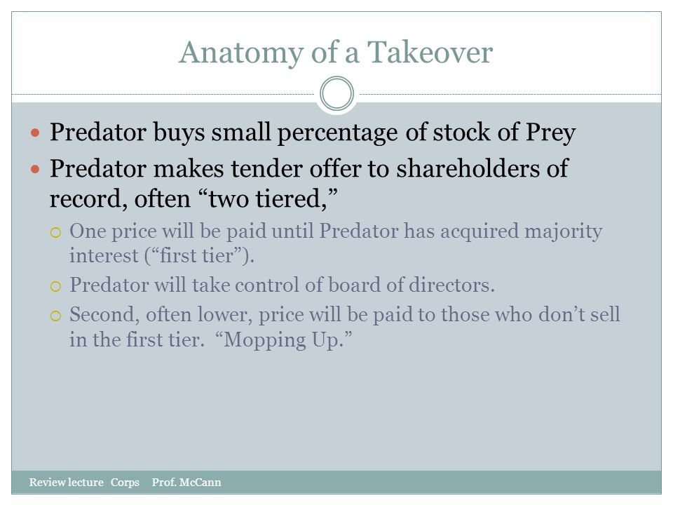 Anatomy of a Takeover Predator buys small percentage of stock of Prey