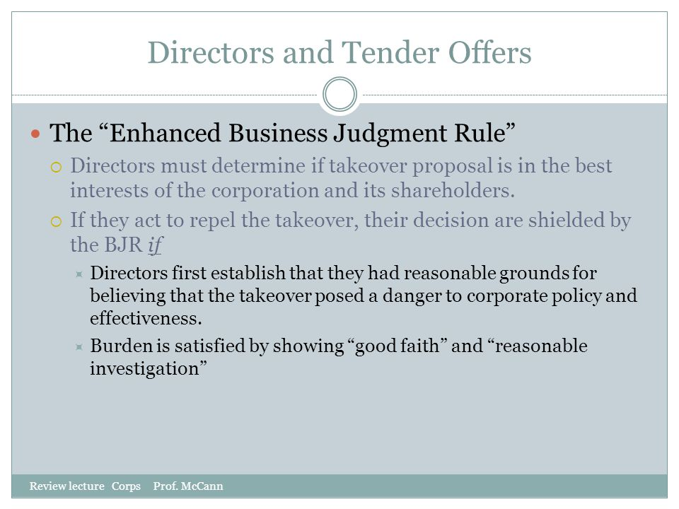 Directors and Tender Offers
