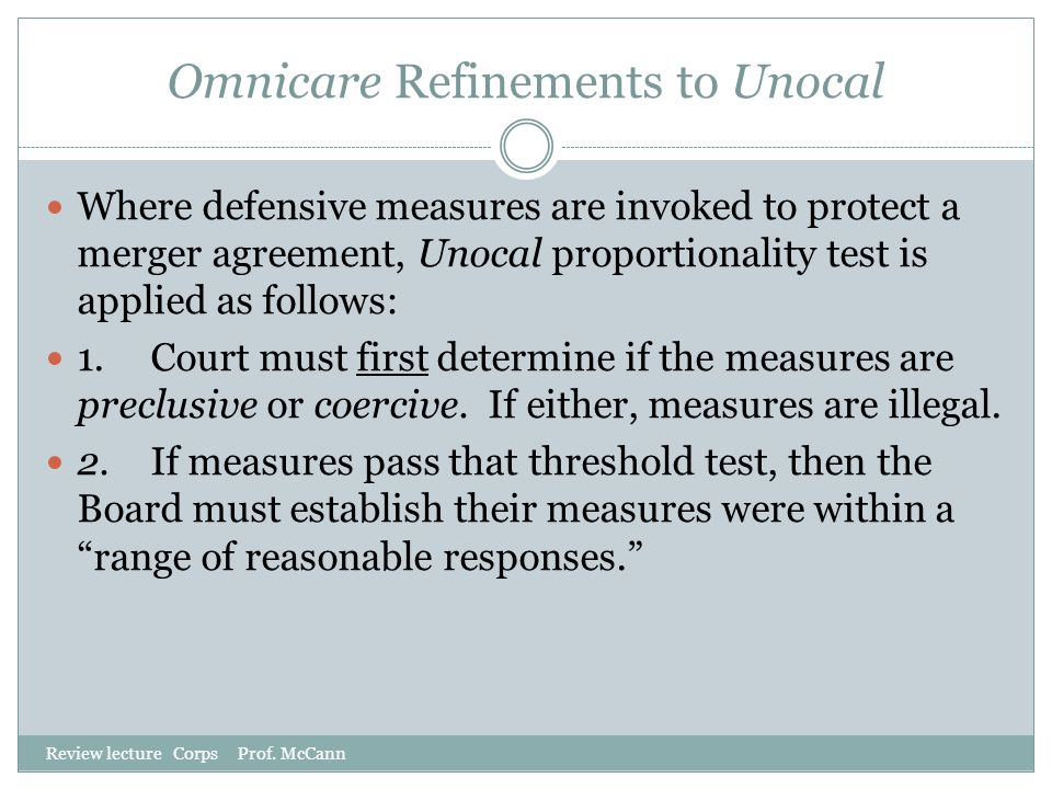 Omnicare Refinements to Unocal
