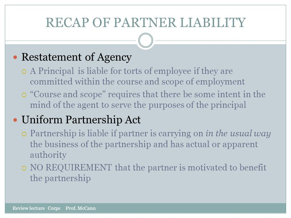 RECAP OF PARTNER LIABILITY