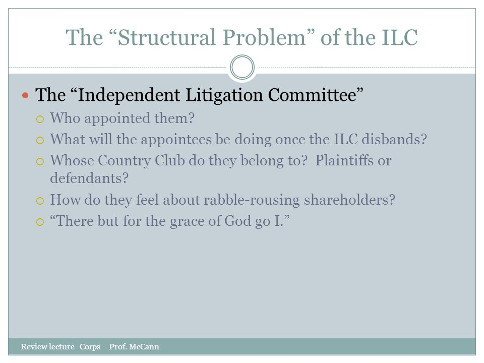 The Structural Problem of the ILC