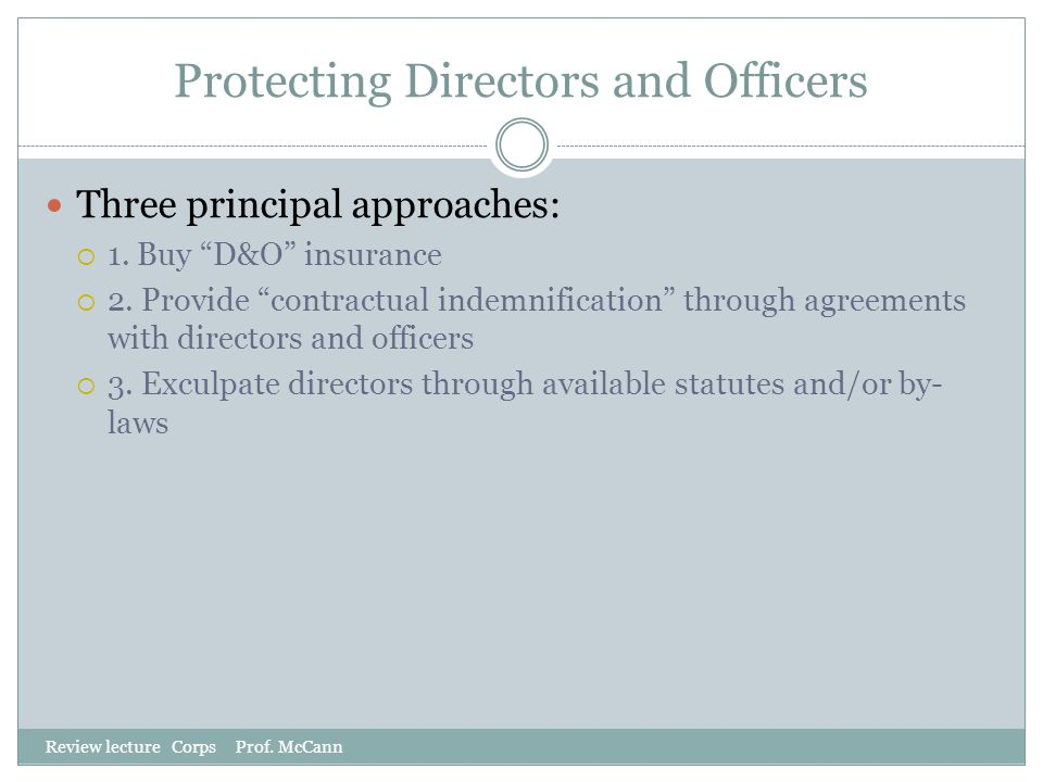 Protecting Directors and Officers