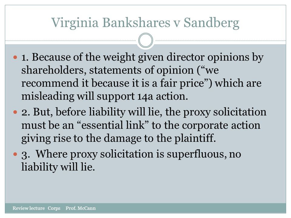 Virginia Bankshares v Sandberg
