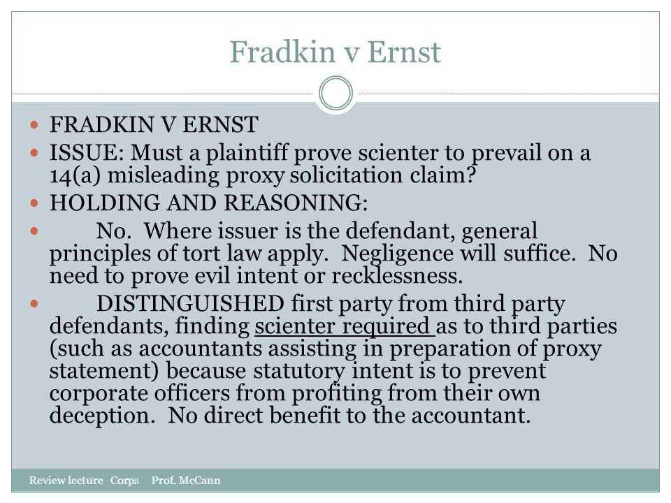 Fradkin v Ernst FRADKIN V ERNST