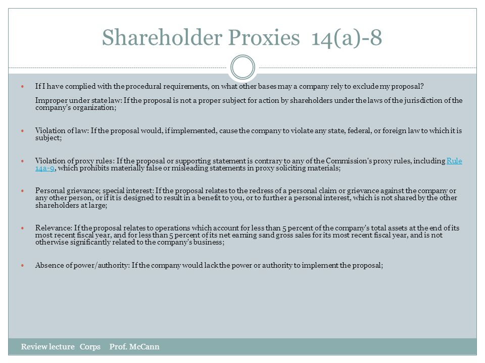Shareholder Proxies 14(a)-8
