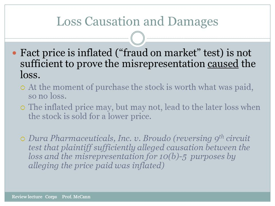 Loss Causation and Damages