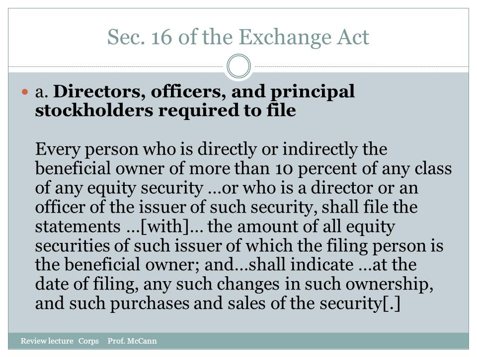 Sec. 16 of the Exchange Act