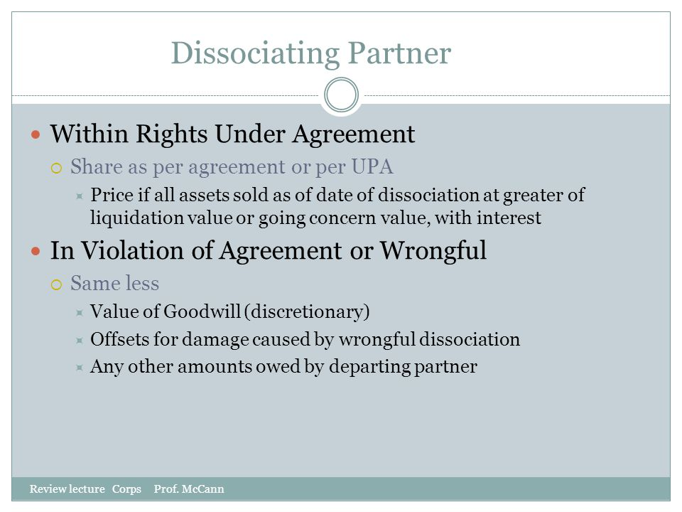 Dissociating Partner Within Rights Under Agreement