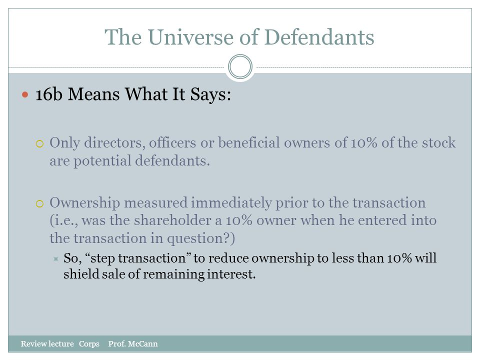 The Universe of Defendants