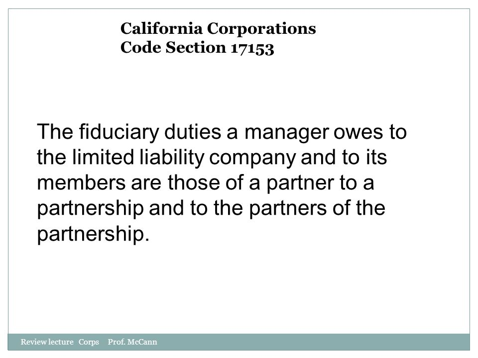 California Corporations Code Section 17153
