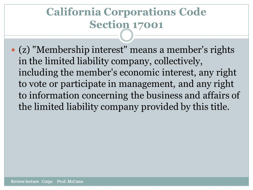California Corporations Code Section 17001