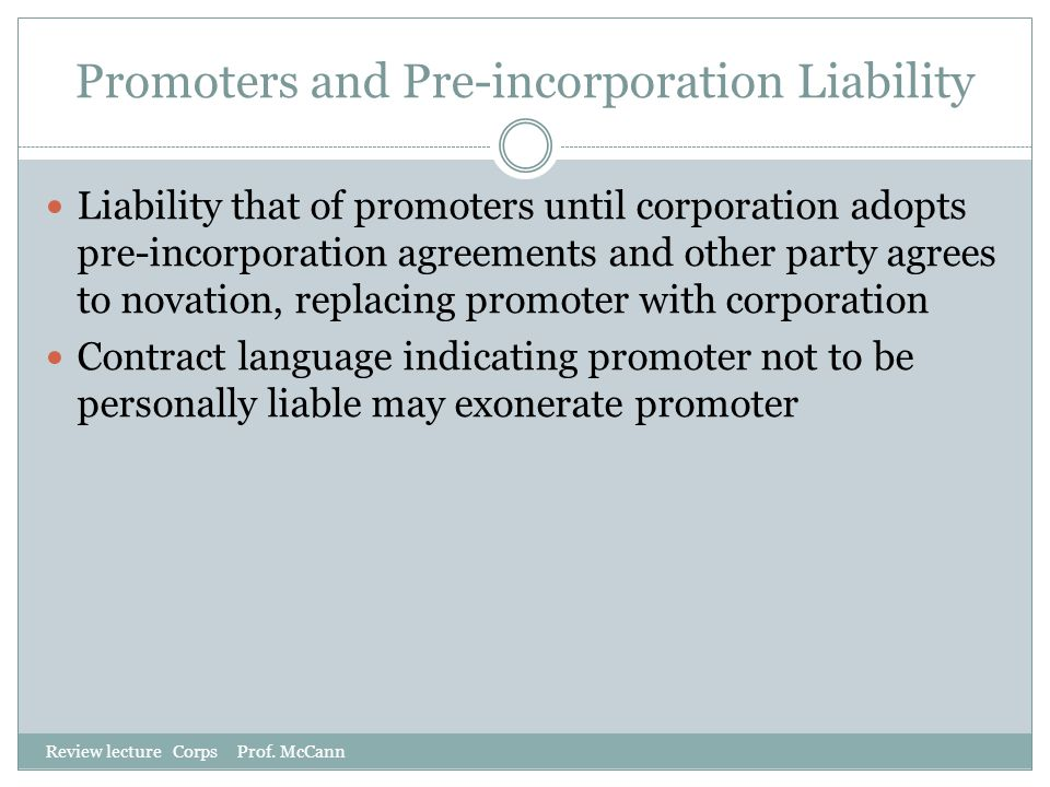 Promoters and Pre-incorporation Liability