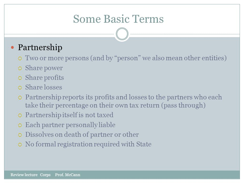 Some Basic Terms Partnership