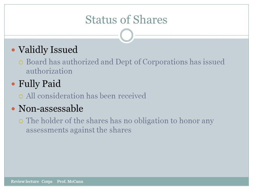 Status of Shares Validly Issued Fully Paid Non-assessable
