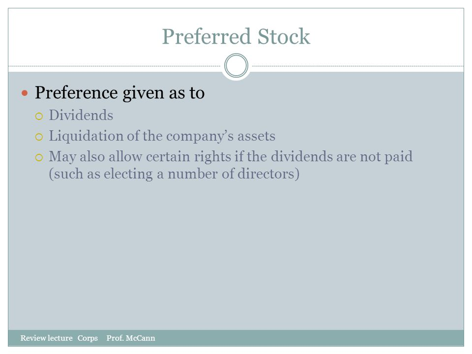 Preferred Stock Preference given as to Dividends