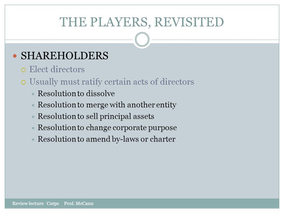 THE PLAYERS, REVISITED SHAREHOLDERS Elect directors