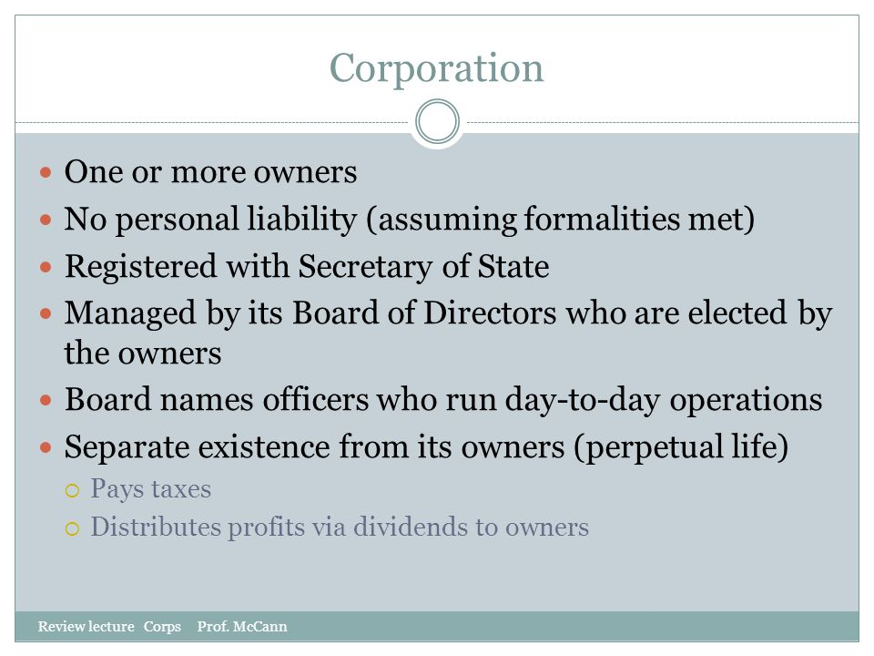 Corporation One or more owners