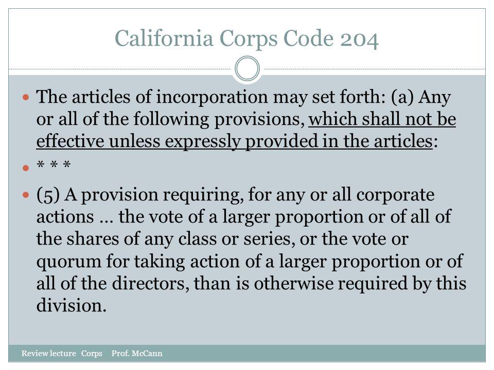 California Corps Code 204
