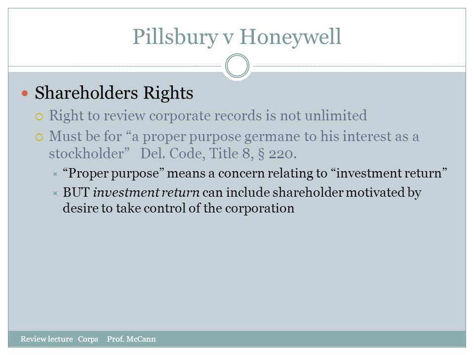 Pillsbury v Honeywell Shareholders Rights