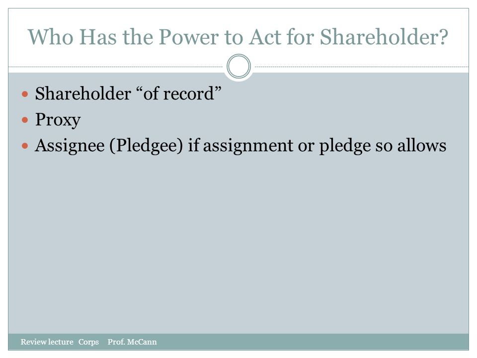 Who Has the Power to Act for Shareholder