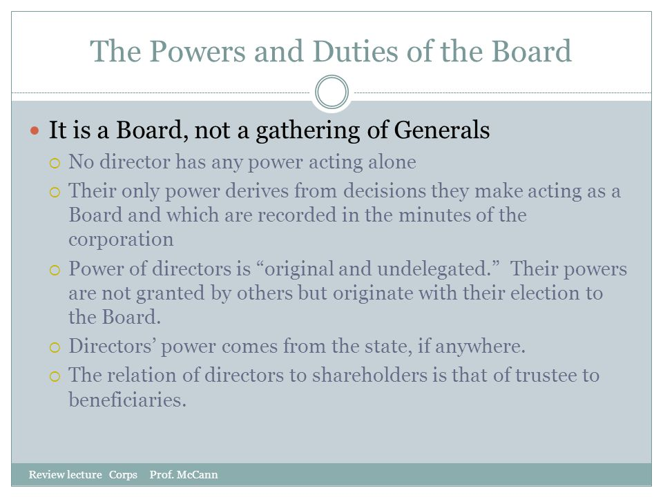 The Powers and Duties of the Board