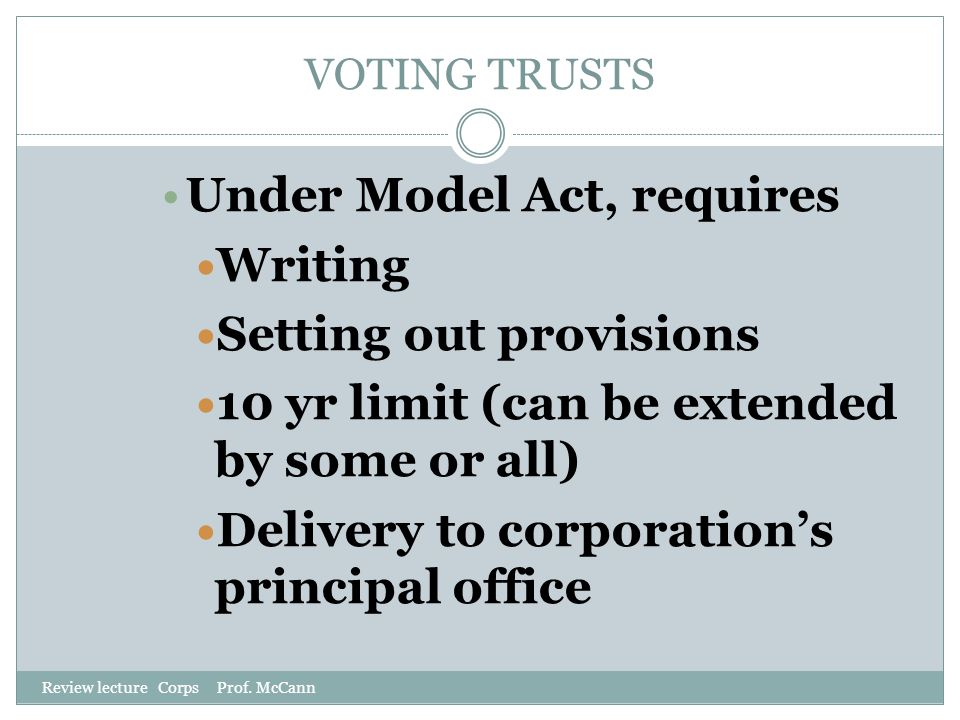 Under Model Act, requires Writing Setting out provisions