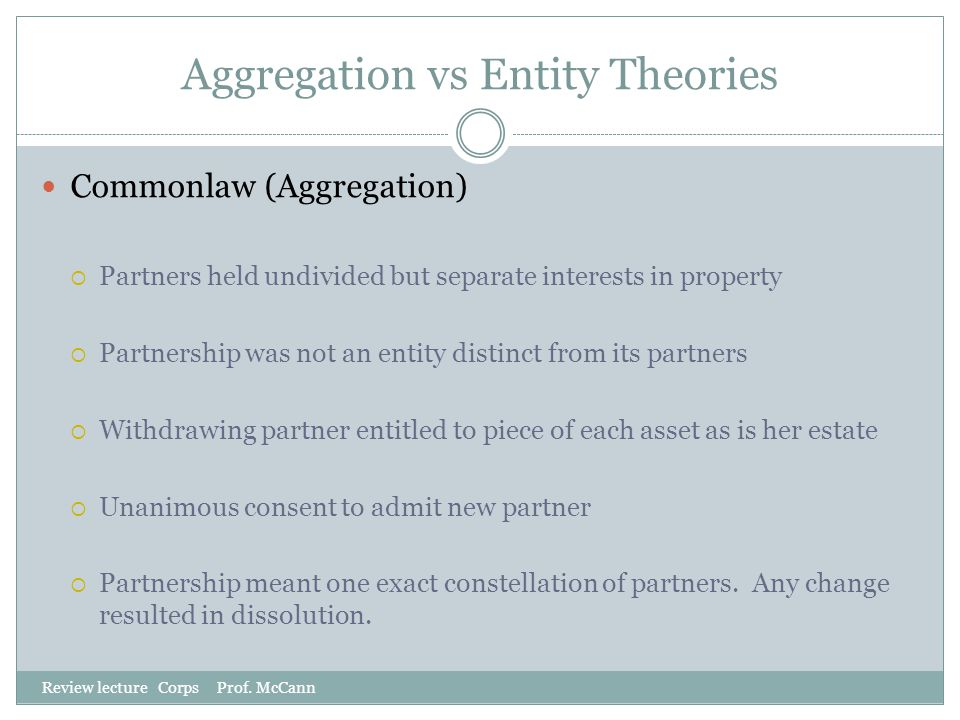 Aggregation vs Entity Theories