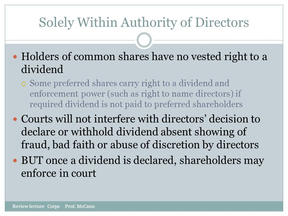 Solely Within Authority of Directors
