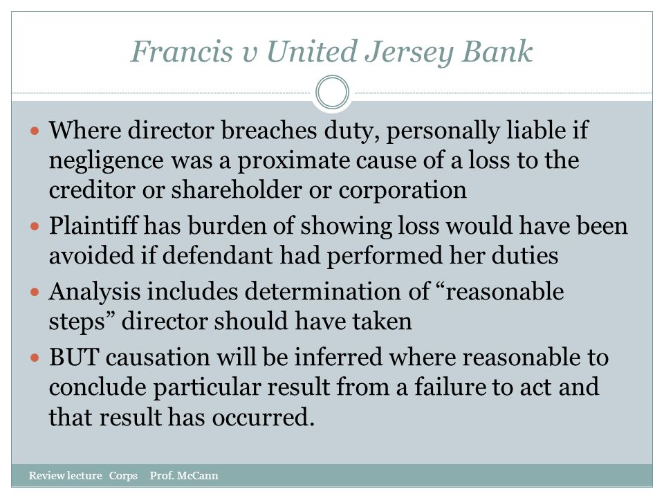 Francis v United Jersey Bank