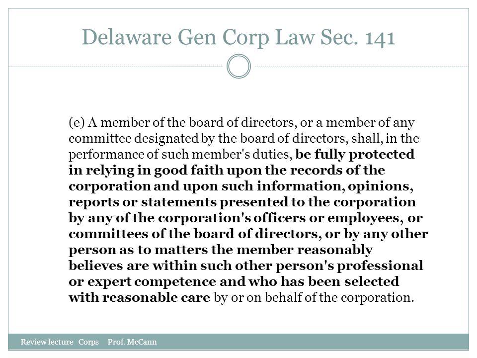 Delaware Gen Corp Law Sec. 141