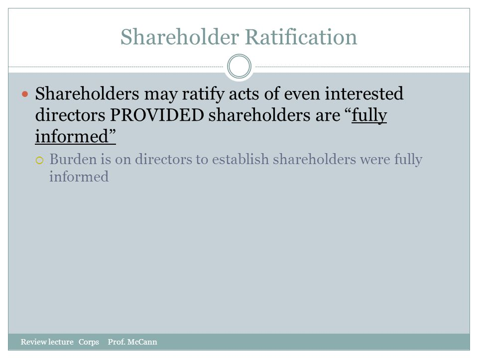 Shareholder Ratification
